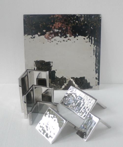 手工不鏽鋼 方形餐盤 (雙腳座分離式) 1